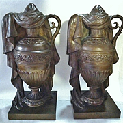 Pair of Antique Solid Bronze Draped Classical Funeral Urns, 19th Century
