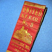 SALE Antique Fire Department Ribbon, Frederick, Maryland - 1896