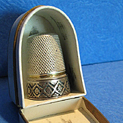 SALE Antique French Sterling Thimble & Box, CA.1880
