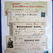 Collection of 5 Antique Bank Checks, Baltimore Banks