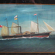Antique Gouache Painting of a Sidewheel Schooner, Dated 1860