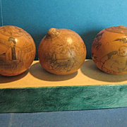 SALE 3 Antique Japanese Scrimshaw on Gourds, 19th Century