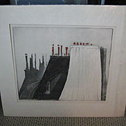 "Original Etching ""Toits a Paris, 1967, by Mario Micossi"