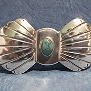 Vintage Southwest Silver & Turquoise Pin, CA.1950's