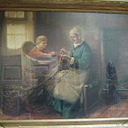 "Original Watercolor ""Mending the Nets"", Von Vreeland, CA.1910"