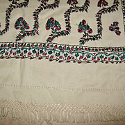 "SALE Rare Antique White ""Paisley"" Shawl, 1880's"