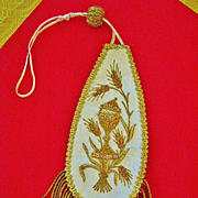 "SALE A Rare Catholic Antique French Ciboire Banner, White Silk, Gold & Silver ""Bullion"""