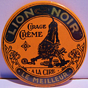 Original  Advertising  Pocket Mirror, French, Lion Noir Creme Cirage, early 1900's