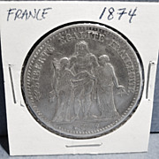 Original Large French Silver 5 Franc Coin, 1874