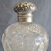 SALE Large English Cut Glass & Sterling Cologne or Perfume Bottle, 1899
