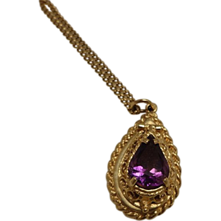 """14K Gold Amethyst Locket with 18K gold 26"""" Chain"""