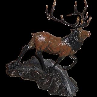 Dennis Jones Elk Bronze Sculpture by Franklin Mint
