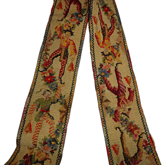 19th Century Victorian Tapestry Jester 5 Foot 8 Inches Door Pull