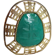 Vintage Unsigned Hattie Carnegie Faux Jade Lucite Pendant/ Brooch