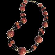 Vintage 1970's  Apple Coral & Black Coral Bead Necklace