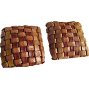 SALE 1970's Braided Leather Square Pierced Earrings