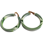 SALE Art Deco Green Swirl Lucite Open Hoop Clip Earrings 2 for 1 offer