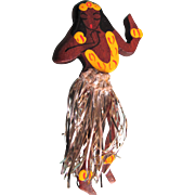 SALE Art Deco Wood Novelty Hand Painted Hawaiian Girl with Original Tinsel Skirt Brooch