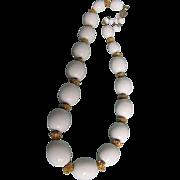 "SALE Vintage Trifari Egg shape Cream  ""Suspended Animation"" Necklace  beads"
