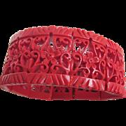 SALE Art Deco Red Asian Style Pierced Celluloid Stretch Bracelet