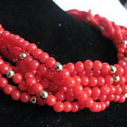 SALE Vintage Faux Red Coral Torsade Necklace  2 for 1 OFFER