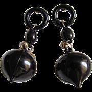 "SALE 1960's ""Pan Am""  Black Dangling Pierced Lucite earrings 2 for $1 OFFER"