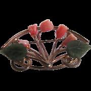 SALE Vintage GP Angel Skin Coral & Jade Rose Framed Bouquet Brooch