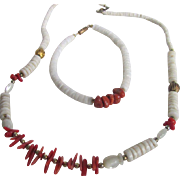 SALE Vintage Red Branch Coral & White Coral Heishi Bead Set of Necklace & Bracelet