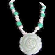 SALE Vintage Carved Jadeite Rose & Glass bead British Estate Necklace
