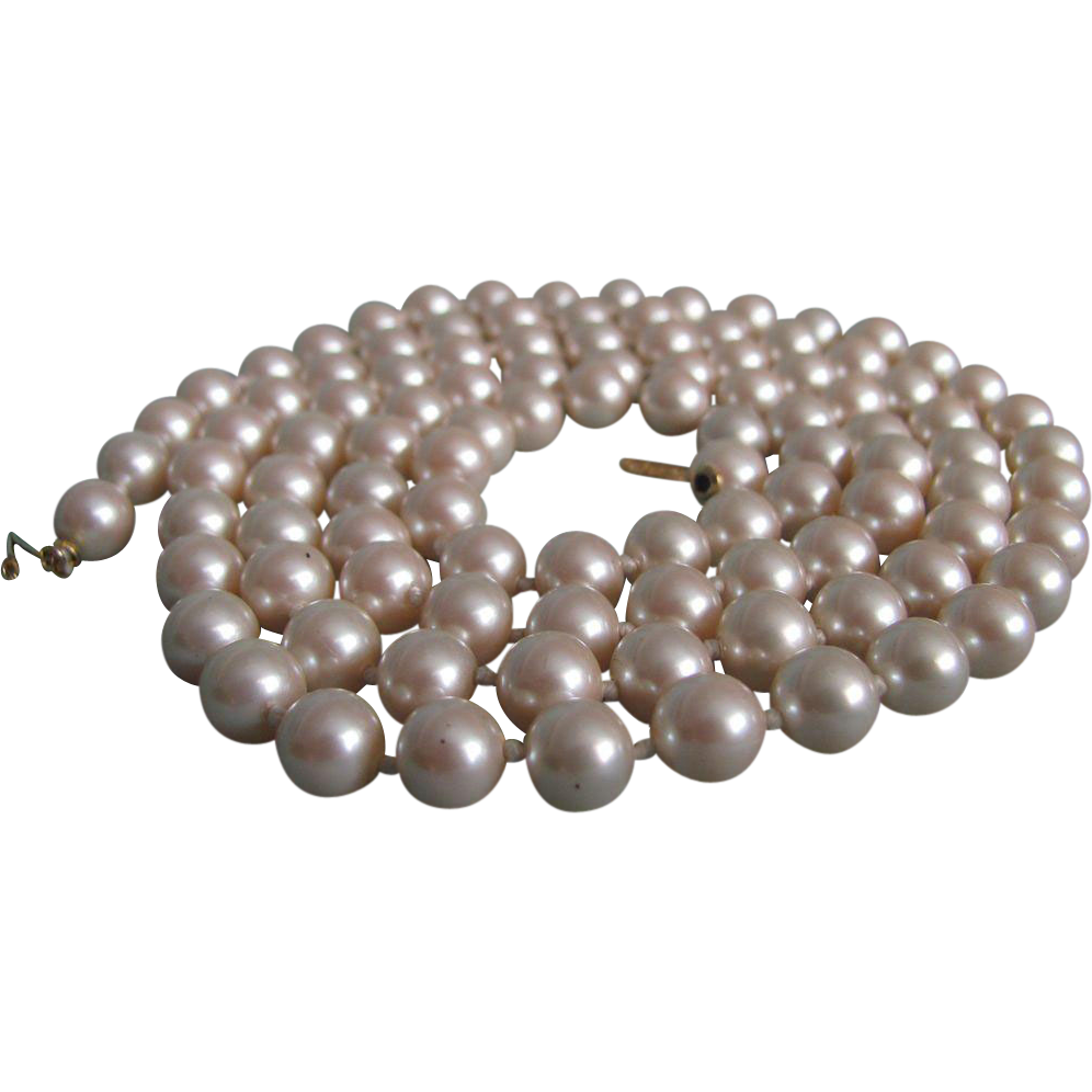 Vintage Marvella High Quality Hand Knotted Faux Pearl Opera Necklace