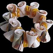 SALE Vintage Semi Precious Conch Shell  Angel skin color Stretchy Bracelet
