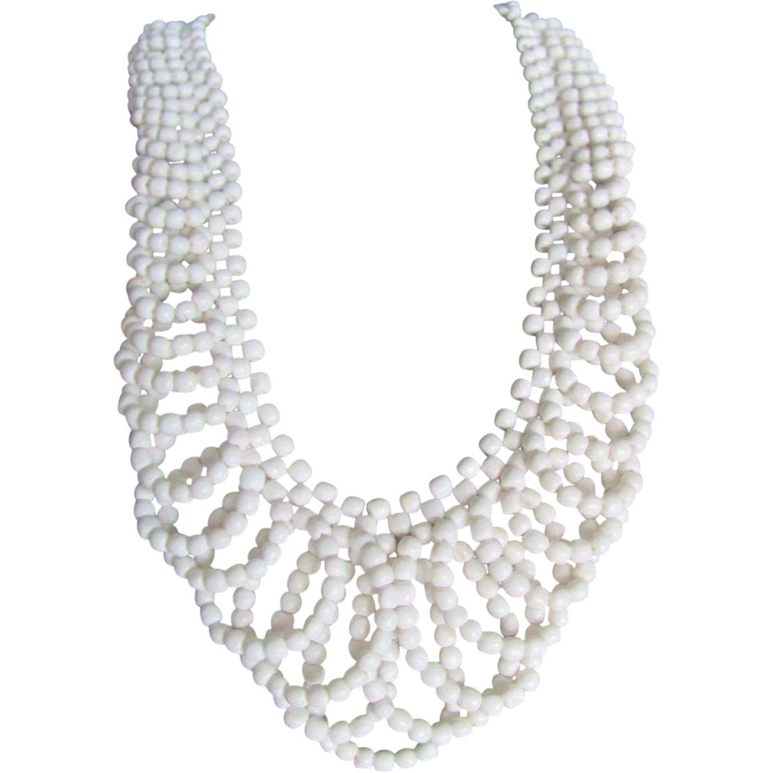 Vintage White Italian  Coral Lace Design Necklace with a Certified Appraisal $1500