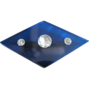 Art Deco Blue Prystal Geometric Brooch with rhinestones