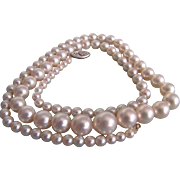 SALE Vintage 10kt Diamond Clasp Cultured Graduated Akoya Very Fine Pearl Necklace with ...
