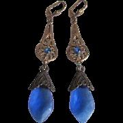 SALE Vintage Art Nouveau Style Stamped Brass & Sapphire Blue  Glass Leverback Earrings