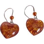 SALE Vintage Baltic Amber Carved Heart Shaped Pierced Earrings