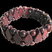 Vintage Jasper Bead Stretch Bracelet with Certified  Appraisal