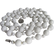 SALE Vintage 14kt. 12mm White Chalcedony Necklace with Certified Appraisal bonus