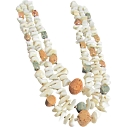 "SALE Mid Century MOP Shell Nuggets  & Cork ""Japan"" 3 Strand Graduated Necklace"