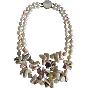 SALE Signed Miriam Haskell Graduated Conch Shell Nuggets & Faux Coral & Faux Pearl MOP Clasp .