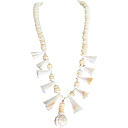 SALE Vintage Signed Carol Dauplaise Conch & Puka Shell  Necklace