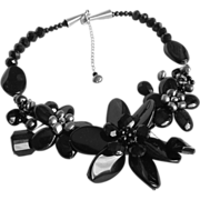 SALE Little Creations Flower Centerpiece in French Black Jet Glass Beads & Grey Freshwater ...
