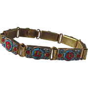 "Victorian Pinchbeck Italian Mosaic Link Bracelet stamped ""Made in Italy"""