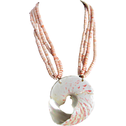 SALE 1980's 22kt GP Kenneth Lane Signed Conch Heishi Bead and Conch Shell Pendant Necklace