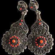 SALE Vintage Victorian Revival Cannetille Faux Coral Leverback Pierced Earrings Large Scale