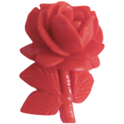 "Art Deco ""Japan"" stamped Early Plastic Red Rose Pin"