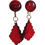 SOLD Vintage ReMixed Transparent Ruby Red Facetted Lucite  Dormeuse Earrings