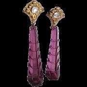 SALE Vintage Huge Scale Graduated Purple Transparent Lucite Pierced Earrings