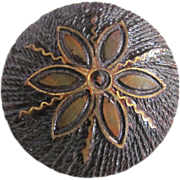 Vintage Folk Art Wood Burning Hand Crafted Brooch with Gold Leaf Detail