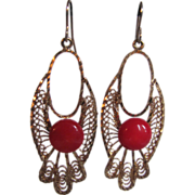 SOLD Victorian Revival GP Cannetille Natural Red Coral Cabochon Drop Pierced Earrings